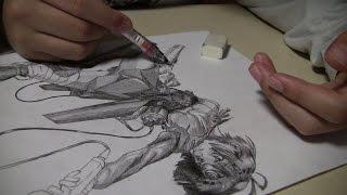 小学生による甲鉄城のカバネリ 無名 アニメ絵模写1 (小6)