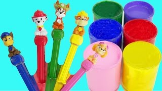 Learn Colors Play Doh Zoo Animal Faces Hiding Paw Patrol Pups Body Paint Finger Family Nursery Rhyme
