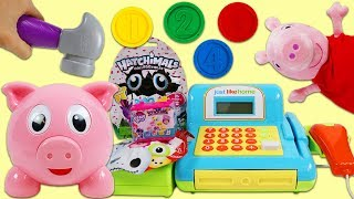 Peppa Pig Uses Pig E Bank to Learn Counting and Buy Surprise Toys!