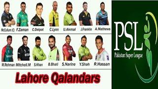psl 2018 Lahore Qalandars full squad | Lahore Qalandars squad for pakistan super league 2018