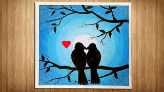 Love Birds scenery drawing with Oil Pastels / Moonlight Drawing