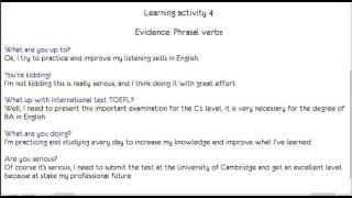 Evidence Phrasal verbs