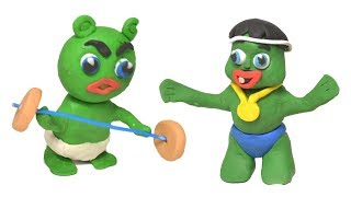 Baby Gummy Bear Workout Competition Superhero Stop Motion Play Doh Video for Kids