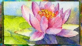 How to Paint the Waterlily with Lotus Flower, Miniature Watercolor Painting