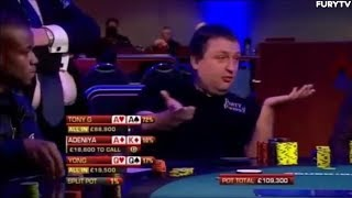 Tony G Makes Big Scene With Pocket Aces (Funny Poker Moment)
