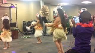 Kids doing their Hawaiian dance presentation
