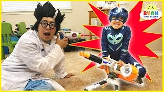 PJ MASKS IRL SUPERHEROES Catboy and Spiderman Surprise Eggs stolen by Romeo and Night Ninja