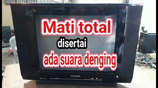 Servis TV POLYTRON Uslim 21inchi mati total bunyi ciit di sertai suara denging