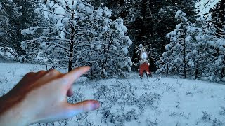 I FOUND EVIL SANTA IN THE WOODS! (HE CHASES ME)