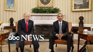 Trump turns from health care fight to fault Obama for Russia hack