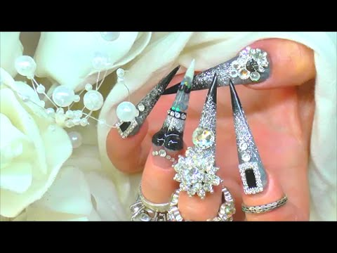 VICTORIAN GOTHIC XL SCULPTED WEDDING DRESS 'BOOBIE' ACRYLIC NAILS | ABSOLUTE NAILS