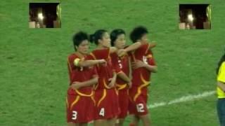 Women's football. Boob shot.