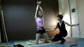 Shibari improvisation - Psiheya ties Nelly into a pretzel