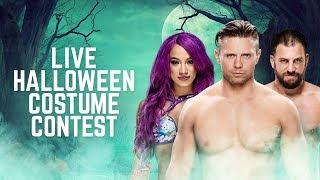 Sasha Banks, The Miz and Drew Gulak compete in a Halloween costume contest