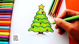 Cómo dibujar un Árbol de Navidad de manera fácil   How to draw a christmas tree!