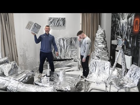 Destroying my Son s Apartment with 100m of Tin Foil Prank Wars