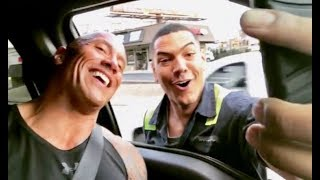 The Rock FAN Stops Him in Oncoming Traffic JUST For A Selfie!