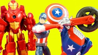 Marvel Avengers Iron Man With Armor Vs. Captain America With Motorcycle