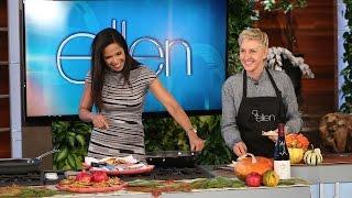Ellen Cooks with Padma Lakshmi