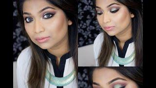 Aqua green eye makeup( in Bangla)