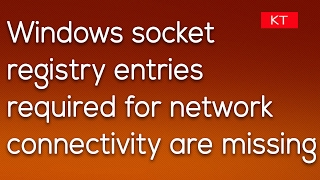 Windows sockets registry entries required for network connectivity are missing in Windows 10