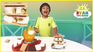 S'mores Maker DIY with Marshmallows Hershey's Chocolates! Ryan ToysReview Family Fun Taste Test