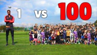 100 KIDS vs 1 PRO Footballer In A Soccer Match