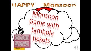 2018-2019 Monsoon theme or rain theme kitty party game with Tambola tickets