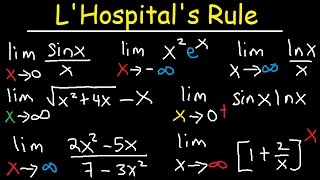 L'hospital's Rule Indeterminate Forms, Limits at Infinity, Ln, Trig & Exponential Functions Calculus