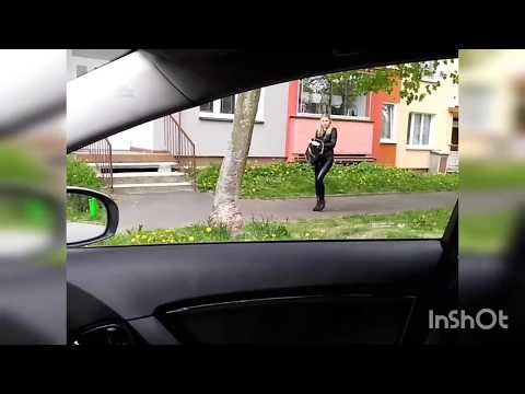 Shiny wetlook tight leggings and leather motorcycle look jacket