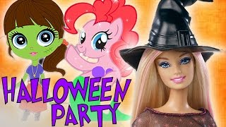 Who's Going to Barbie's Cartoon Halloween Party?? | Shopkins, Ever After High, & Littlest Pet Shop!
