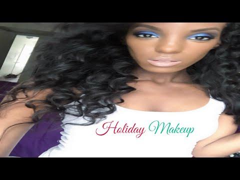Blue Glitter Eyeshadow Tutorial  | Nude lips