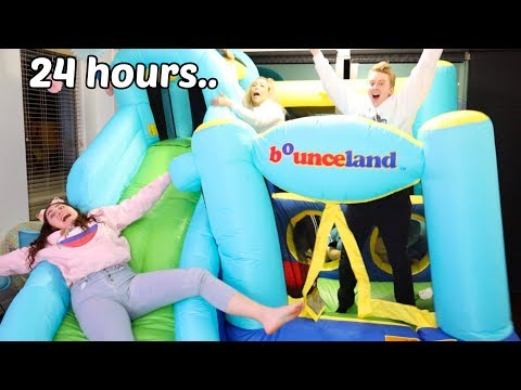 STAYING IN A BOUNCY HOUSE FOR 24 HOURS CHALLENGE part 2