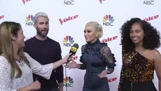 Gwen Stefani, Alicia Keys and Adam Levine on The Voice Top 10 Red Carpet, May 8, 2017