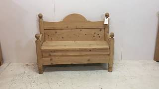 Pine Bench Made From An Old Sleigh Bed - Pinefinders Old Pine Furniture Warehouse