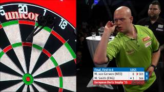 AMAZING DARTS! Michael Smith 6-2 Michael van Gerwen, 2015 European Darts Trophy Final (HD)