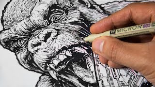Drawing KING KONG vs GODZILLA vs PACIFIC RIM - The Most Detailed Drawing Ever...