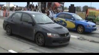 █▬█ █ ▀█▀ Mitsubishi Lancer EVO IX Vs. Subaru Impreza WRX STI Drag Race [1/4 Mile]