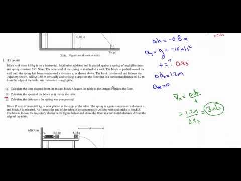 AP Physics 1 - 2010 (AP B) - Question 1 - Mechanics - Momentum, Energy, and Projectile Motion
