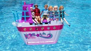 BOAT trip ! Elsa and Anna toddlers on cruise ship - Barbie is captain - vacation - pool - water fun