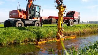 Ditch Cleaning & Collecting Vegetation | Atlas mobile crane + Vicon Slootvuilpers | Gebr. Tolenaars
