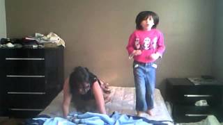 me and my step sister jumping on the bed