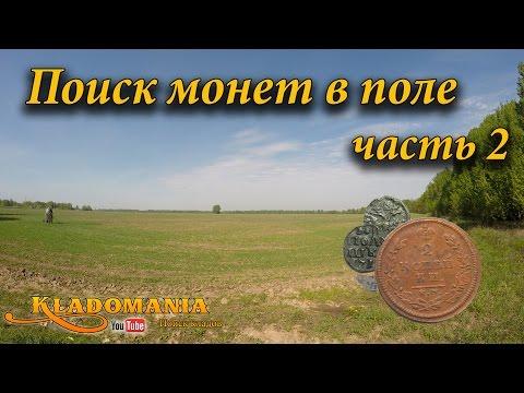 Поиск монет в поле часть 2. поиск по старине. полушка петра .