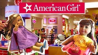 Shopping in American Girl Store Bitty Babies Toys , Doll Hair Salon and Baby Dolls Eat Restaurant