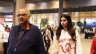 Boney Kapoor & Khushi Kapoor Spotted At Airport