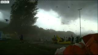 BBC News   Storm sends tents flying at Swiss gymnastics tournament mp4