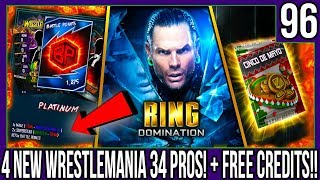 4 NEW WRESTLEMANIA 34 PROS + FREE CREDITS! #WWESUPERCARD S4 #96