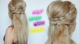CUTE HAIRSTYLE HAIR TUTORIAL HALF UPDO WITH BRAIDS | Awesome Hairstyles