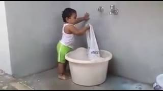 New Baby Funny Videos 2017 Indian Baby Washing Clothes Whatsapp Video Latest
