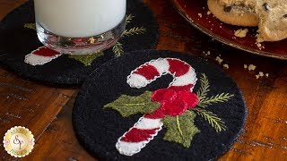 How to Make a Candy Cane Wooly Mug Rug | A Shabby Fabrics Sewing Tutorial